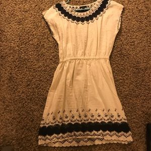 White and Blue Embroidered Summer Dress